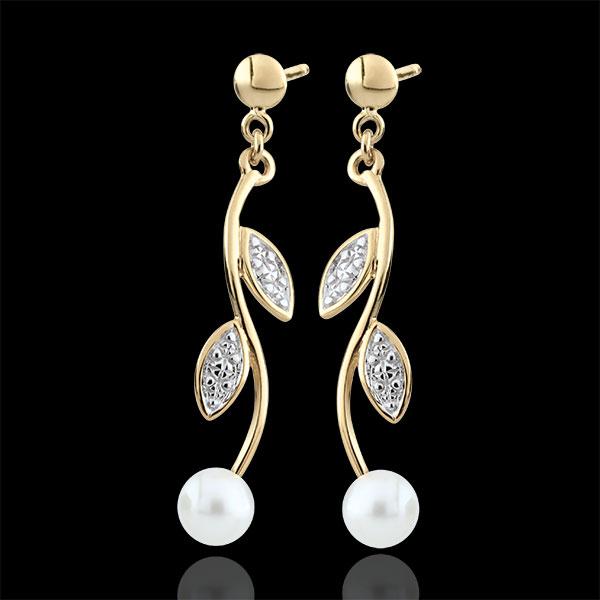 Boucles d'oreilles Été nacré - perles - or blanc et or jaune 9 carats