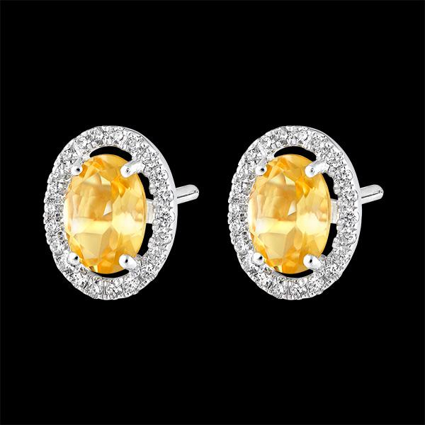 Boucles d'oreilles Eternel Edelweiss - Anaé - or blanc 18 carats - Citrine et diamants