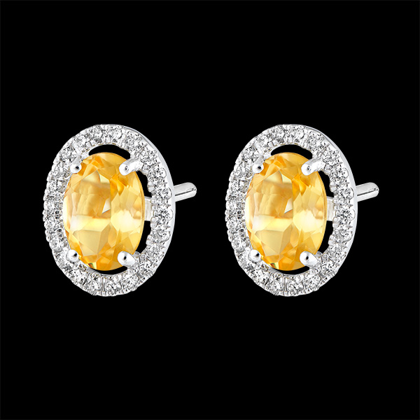 Boucles d'oreilles Eternel Edelweiss - Anaé - or blanc 9 carats - Citrine et diamants