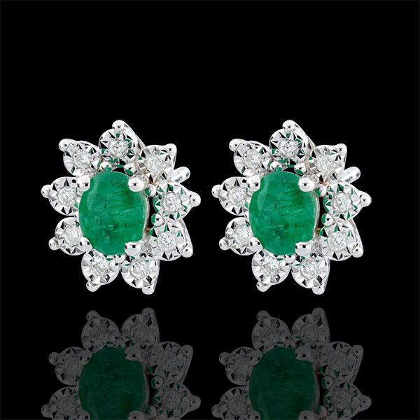 Boucles d'oreilles Eternel Edelweiss - Marguerite Illusion - émeraude et diamants - or blanc 18 carats