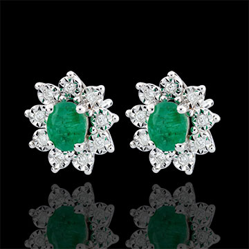 Boucles d'oreilles Eternel Edelweiss - Marguerite Illusion - émeraude et diamants - or blanc 9 carats