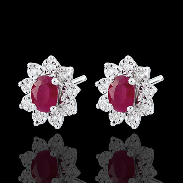 Boucles d'oreilles Eternel Edelweiss - Marguerite Illusion - rubis et diamants - or blanc 9 carats