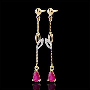 Boucles d'oreilles Evina - or blanc et or jaune 9 carats et rubis