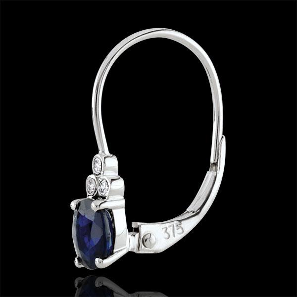 Boucles d'oreilles Exquises - saphirs et diamants - or blanc 9 carats