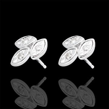Boucles d'oreilles bouquets de diamants or blanc 18 carats