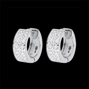 Boucles d'oreilles Constellation - Astrale variation - grand modèle - or blanc 18 carats- 0.2 carat - 20 diamants