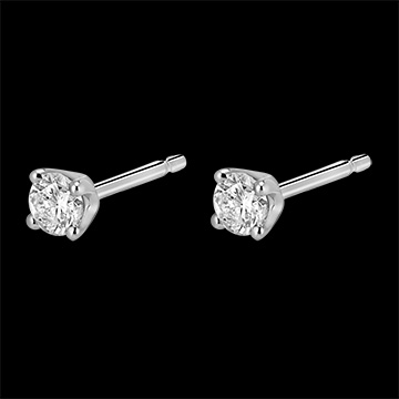 Boucles d'oreilles diamants - puces or blanc 18 carats - 0.25 carat