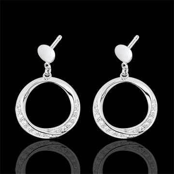 Boucles d'oreilles Lady or blanc 18 carats et diamants