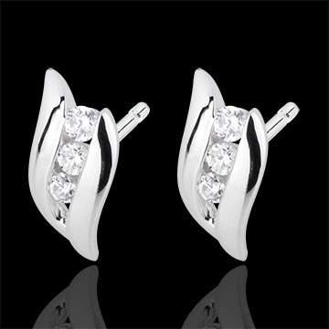boucles d 39 oreilles trilogie nid pr cieux romance or blanc 18 carats diamants bijoux edenly. Black Bedroom Furniture Sets. Home Design Ideas