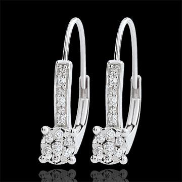 Boucles d'oreilles Venise - 20 diamants - or blanc 9 carats