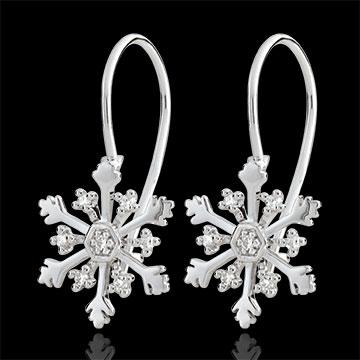 Boucles d'oreilles Flocon Austral - dormeuses - or blanc 9 carats