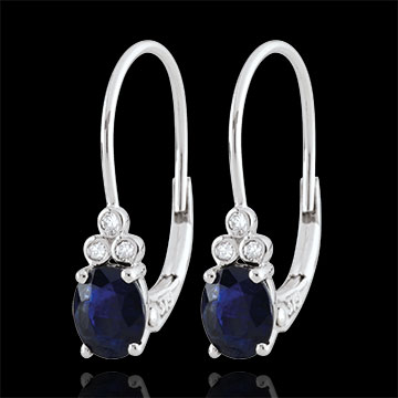 Boucles d'oreilles Exquises - saphirs et diamants - or blanc 9 carats