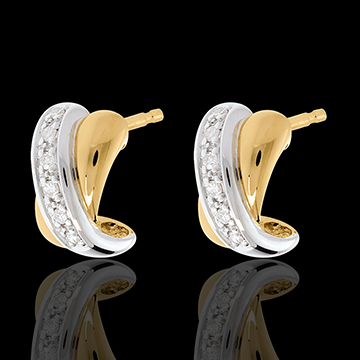 Boucles d'oreilles Tandem paves 12 diamants - or blanc et or jaune 18 carats