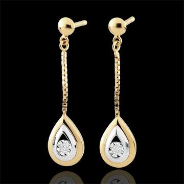 Boucles d'oreilles Larmes d'antilope - pendantes or blanc et or jaune 9 carats