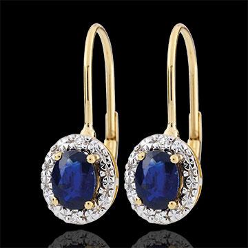 Boucles d'oreilles Apolline - saphirs - or blanc et or jaune 9 carats