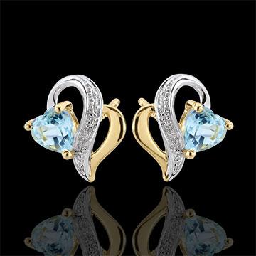 Boucles d'oreilles Ouaki - topaze bleue - or blanc et or jaune 9 carats