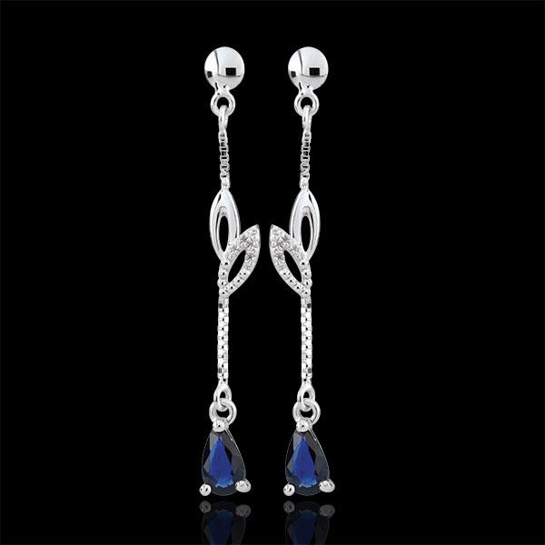Super Boucles d'oreilles Evina - or blanc 9 carats et saphirs : bijoux  XM27