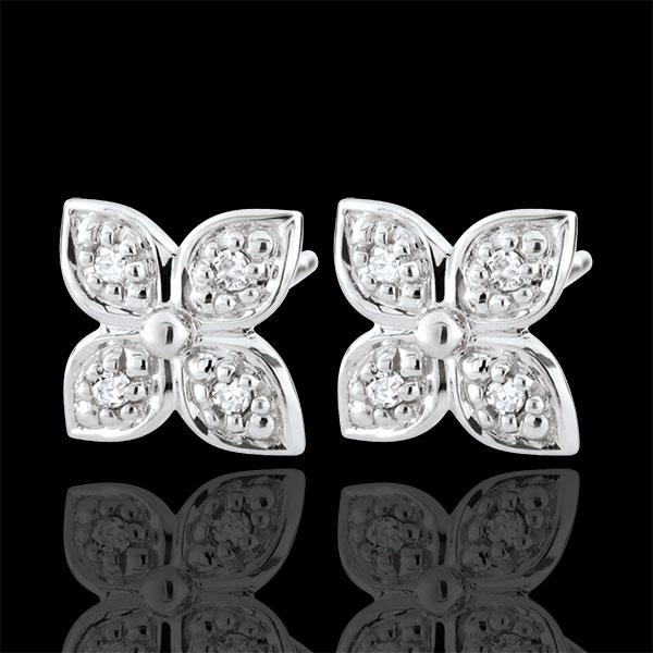 Boucles d'oreilles Fleur d'éternité - 8 diamants - or blanc 9 carats