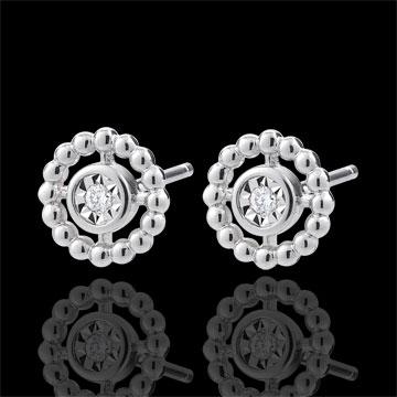 Boucles d'oreilles Fleur de Sel - Cercle - or blanc 9 carats