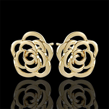 Boucles d'oreilles Fleurs Couture - puces - or jaune 9 carats
