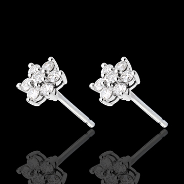 Boucle d'oreilles lotus pavées - 0.33 carats - or blanc 18 carats