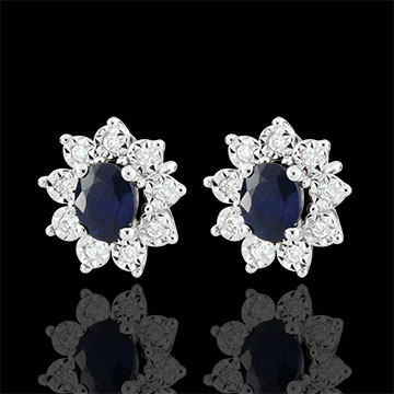 Boucles d'oreilles Eternel Edelweiss - Marguerite Illusion - saphir et diamants - or blanc 18 carats