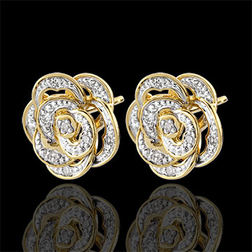 Boucles d'oreilles Fraicheur - Rose Dentelle - or blanc, or jaune 9 carats et diamants