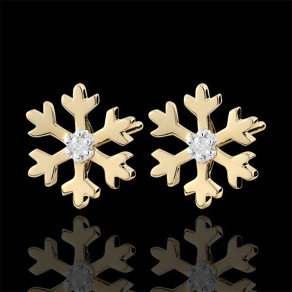 Boucles d'oreilles Flocons givrés - or jaune 9 carats