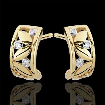 Boucles d'oreilles Fraicheur - Créoles Feuillage - or jaune 9 carats