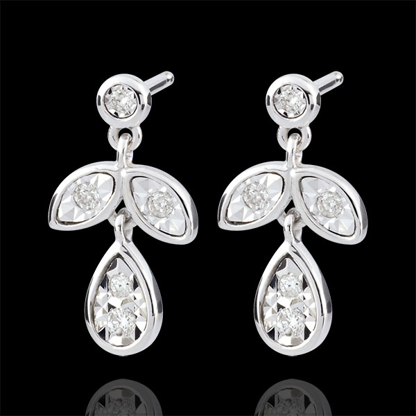 Boucles d'oreilles Hesmé - 10 diamants - or blanc 9 carats