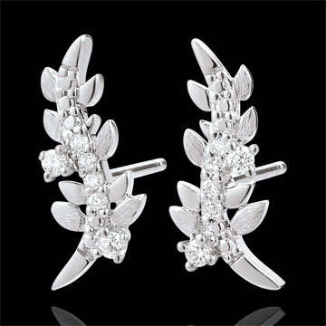 Boucles d'oreilles Jardin Enchanté - Feuillage Royal - or blanc 9 carats et diamants