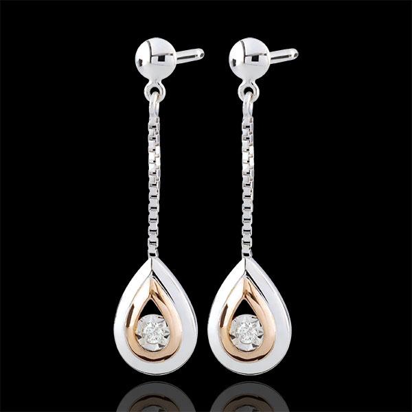 Boucles d'oreilles Larmes d'antilope - pendantes or blanc et or rose 9 carats