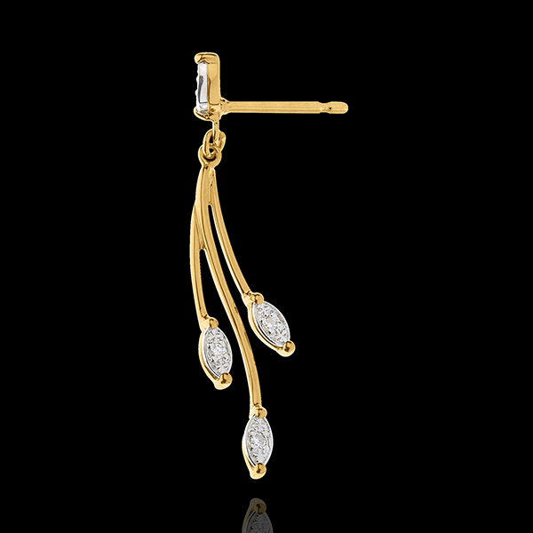 Boucles d'oreilles Luxuriance Végétale - or blanc et or jaune 18 carats et diamants