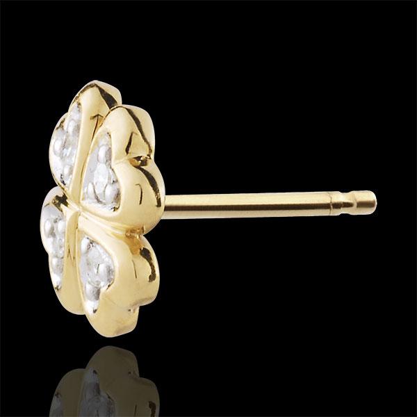 Boucles d'oreilles Ma chance - diamants - or blanc et or jaune 9 carats