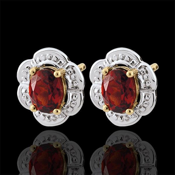 Boucles d'oreilles Marguerite Lilly - Grenat - or blanc et or jaune 9 carats