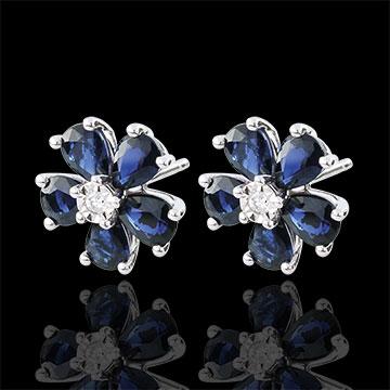 Boucles d'oreilles Maria Flora - saphirs - or blanc 9 carats