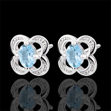 Boucles d'oreilles Mini Flora - topaze - or blanc 9 carats