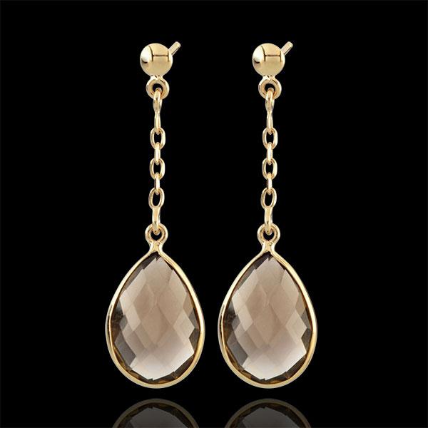 Boucles d'oreilles Narcisse - quartz fumé - or jaune 9 carats
