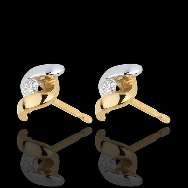 boucles d'oreilles Nid Précieux - Mademoiselle - or blanc et or jaune 18 carats