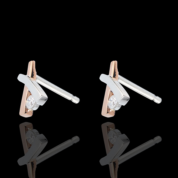 Boucles d'oreilles Nid Précieux - Ombrée variation - or blanc et or rose 18 carats