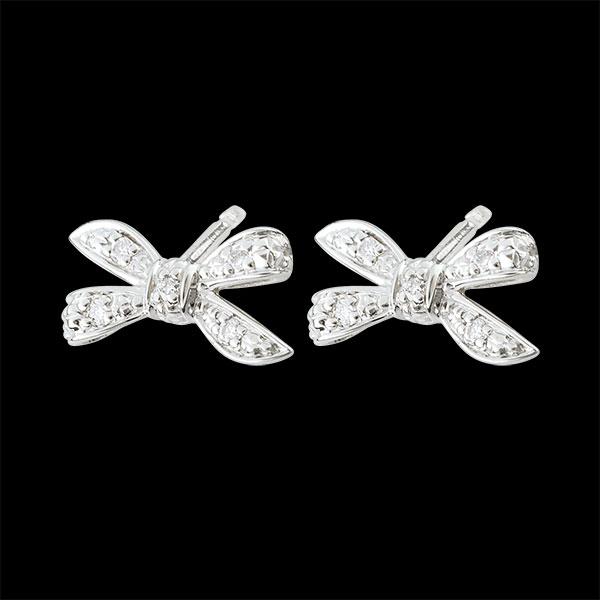Boucles d'oreilles Noeud Ma chérie - or blanc 18 carats