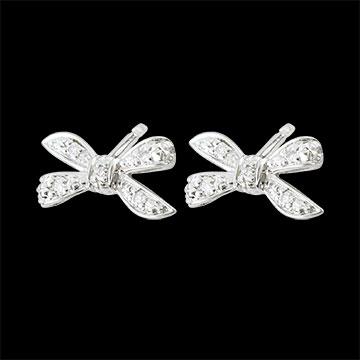 Boucles d'oreilles Noeud Ma chérie - or blanc 9 carats