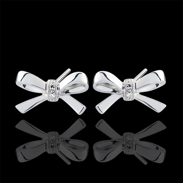 Boucles d'oreilles Noeuds Carlotta - or blanc 9 carats