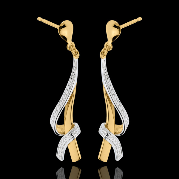 Boucles d'oreilles Nouées pavées - or blanc et or jaune 18 carats