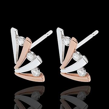 Boucles d'oreilles Ombrée - or blanc et or rose 18 carats