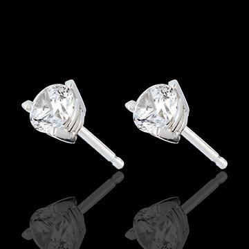 Boucles d'oreilles or blanc 18 carats - diamant 3 griffes - 1 carats