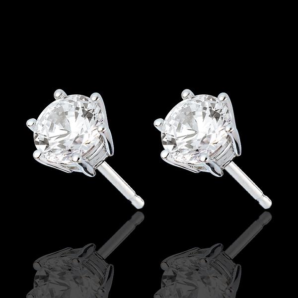 Boucles d'oreilles or blanc 18 carats - diamant 6 griffes - 2 carats