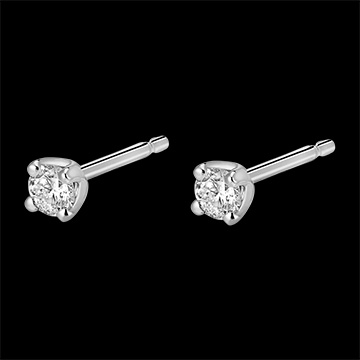 Boucles d'oreilles or blanc 18 carats diamants - puces diamant 0.2 carat