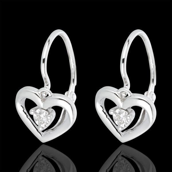 Boucles d'oreilles or blanc 18 carats Mon Amour - 2 diamants