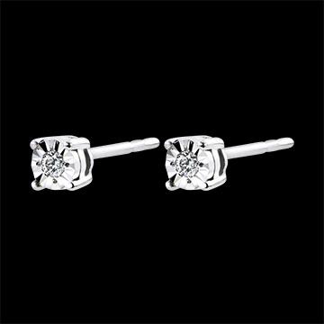Boucles d'oreilles Origine - or blanc 9 carats et diamants